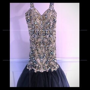 Size 6 Beaded Gold & Black Mermaid Gown